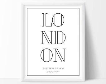 London print, London art, London printable, city wall decal, city wall art, typography print, typography wall art, home decor