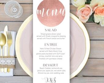 Rose gold wedding menu card Printable wedding menu Personalized wedding menu cards Summer wedding décor Tableau mariage wedding table décor