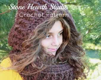 Bryanna Crochet Hooded Scarf Pattern,Thick Winter Hood,Crochet Hood,Chunky Hooded Scarf,Easy Pattern!Girls,Teen & Adult Size,Classy,Chic!