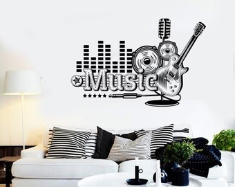 Wall Vinyl Music Rock Guitar Guaranteed Quality Decal Mural Art 1512dz