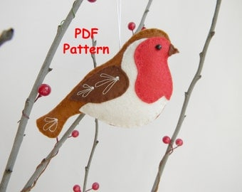 PDF Robin bird pattern Sewing PDF Pattern Christmas ornament  Felt Bird Plush Bird  Instant Download easy sewing pattern embroidery