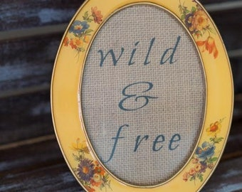 Wild & Free Vintage Framed Burlap Print