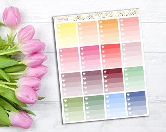 Ombre Hearts checklist | Checklist planner stickers | Ombre planner stickers | Functional stickers