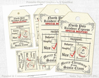 PRINTABLE CHRISTMAS GIFT Tags Large Christmas Tags From Santa Tags North Pole Reindeer Express Christmas Tags Naughty or Nice Holiday Tags