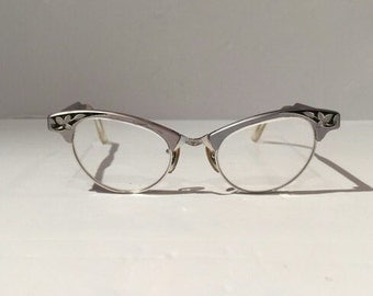Vintage Art Craft Etched Aluminum with Floral Pattern Cateye Glasses, Art Craft Cateye Aluminum Frames with Flowers, Beautiful Cateye Frames