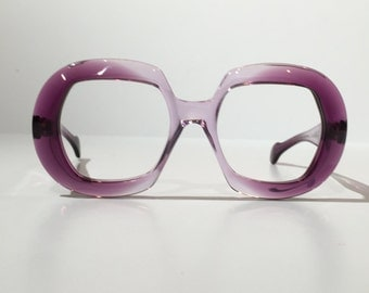 Globe Optical Vintage Purple Glasses Frames, 1960s Funky Round Purple Retro Glasses Frames, NOS, New Old Sock