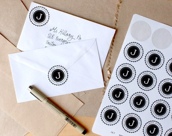 Cute Monogram Return Address Labels // Customized with Your Name & Address // Black and White // IttyBittyPaperCo (L6.1)
