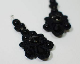 Soutache long earrings, Dangle earrings, Black earrings, Evening earrings, Embroidered earrings, Crystal earrings, FREE SHIPPING