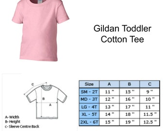 Size Chart for Infant, Toddler and Youth Short Sleeve T-Shirts and Onesies