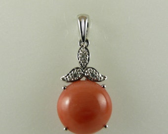 Italian Coral 11.1mm Pendant with Diamonds 0.02ct 14k White Gold