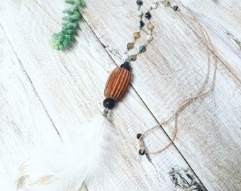 Boho feather necklace Rustic feather necklace Natural feather necklace Feather jewelry Tribal feather necklace Boho natural feather necklace
