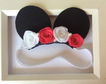 Baby Minnie Ears, Minnie Mouse headband, Baby headband, flower headband
