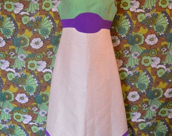 Stunning Handmade Ivory Cream Purple & Green 60's Handmade Dress