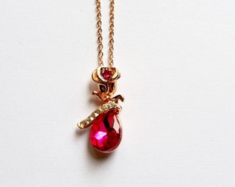 Crystal Pendant Necklace, Pink Rhinestone Pendant, Pink Crystal Pendant Charm, Water Drop Crystal  Pendant, 1 cm x 2.5 cm, Gift For Her,