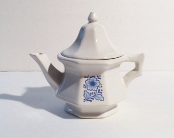 Vintage Blue and White Avon Teapot, Vintage Avon