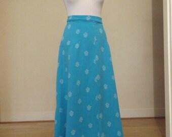 vintage blue 70s crimplene maxi skirt geometric 12 14