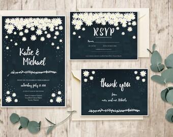 Printable Wedding Invitation Suite / Custom Wedding Stationary / DIY Wedding Invitation Kit / Floral Invitation / Winter Wedding Invitation