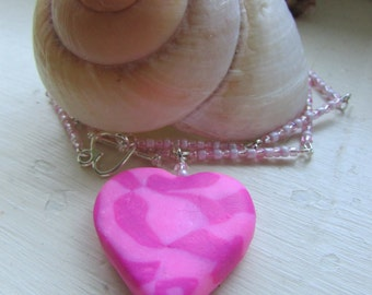 Heart necklace , Pink necklace , Silver plated necklace , Polymer clay fimo heart necklace , Beaded necklace , Gifts for her