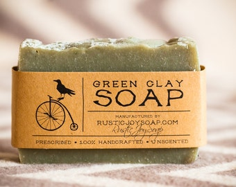Green Clay Soap, homemade soap, All Natural Soap, Handmade Soap, vegan soap, Valentine's Day gift, Acne Soap, Spa Soap, Spa Relaxation soap