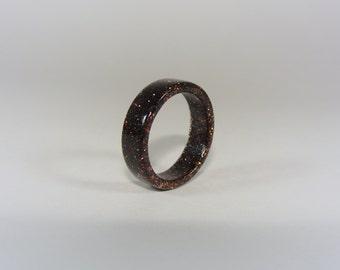 Black and Copper Resin Ring ~ Men's or Women's ~ Handmade to Order