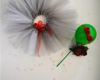 Baby Tutu Outfit~ Christmas baby girl outfit~ newborn tutu & headband~ grey baby tutu~ red bow headband~ baby tutu skirt~ newborn tutu set