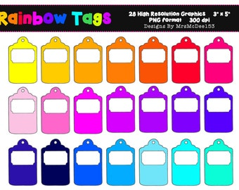 Rainbow Label Clip Art Set 2, Rainbow Tag - 28 Graphics - 300dpi - PNG - Commercial/Personal - Instant Download