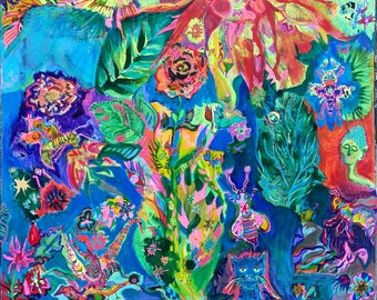 Garden of Delights - Original mixed media print with added hand-coloring.