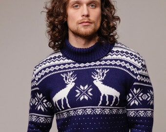 Christmas Sweater Men Deers Knitted Turtleneck Ugly Chunky Jumper Pullover Noel Handmade