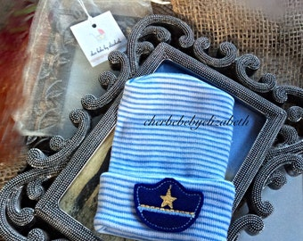 Police cap Hospital hat!  Blue and white striped hospital hat with police hat for a newborn boy