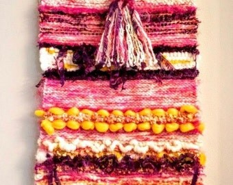 Color Run Loom Woven Fiber Art Wall Hanging
