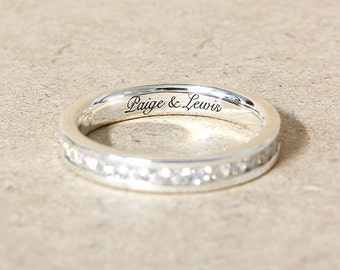 White Sapphire Full Eternity Ring, Wedding Ring, Engraved Ring, stacking ring, Engagement Ring for women, Promised Ring, Custom wedding Ring