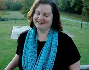 Lacy Crochet Scarf - Blue