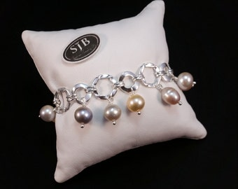 "Sterling Silver & Pearl Link Bracelet multi color pearl dangle bracelet white pearl charm bracelet 925 dangle pearl bracelet 7"" charm #BR138"