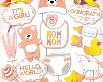 Girl baby shower photo booth props: printable PDF. Baby shower photobooth props, baby photo booth props, gender reveal party.