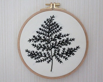 Black Leaf, Wall or Door Hanging Embroidery Hoop Art, Fabric Wall Hanging, Needlepoint, Hand Embroidery, Stitched Art