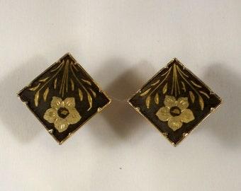 Vintage Japanese Floral Damascene Clip Earrings U3258 Flower Motif