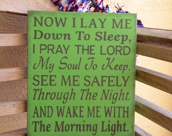 Now I lay me down to sleep, I pray the Lord my soul to keep sign/hand painted nursery sign/nursery decor/baptism gift/Rustic sign/baby gift