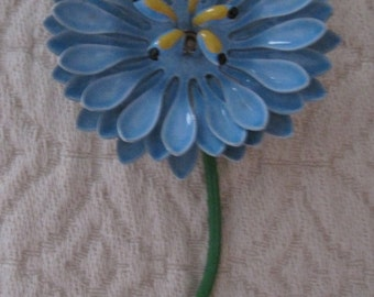 Vintage Enamel Blue Flower Brooch