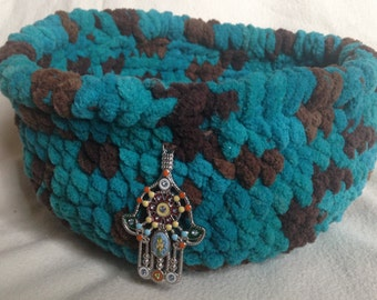 Crocheted Yarn Basket with Hamsa Charm Accent