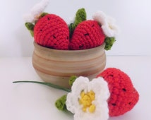 Crochet strawberry keychain keyring amigurumi toy handmade keychain red strawberry with flower gift for girl gift for mother