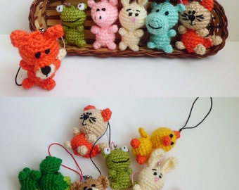 Crochet toys animal keychain Small toys miniature toys fox frog hippo bear cat pig chick Valentine gift for kids For sister Phone charm toys