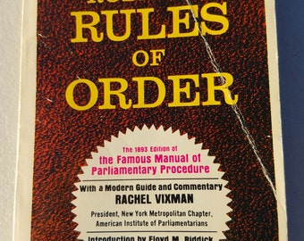 Robert's Rules of Order ** 1977 vintage first paperback book edition of famous meeting rules bestseller