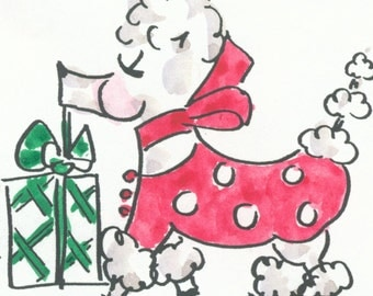 FIFI by JANE STAFFIER**Poodle Art*Modern American Art*Poodle Illustration*Whimsy**Polka Dots*Red*Print*Poster*Poodle dog art*Jane Staffier