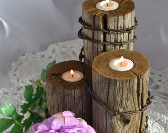 Rustic country or western wedding tealight centerpiece.Home Decor. Reclaimed fence post & barbed wire. Authentic from 1923 farm/ranch. 3PTWP