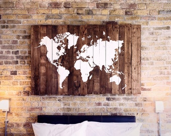 World Map Wood - Reclaimed Pallet Boards - (160x100cm) - (62x39in)