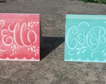 Coral and Teal Greeting Card Set, 2 Cards, Hello, Celebrate, Any Occasion