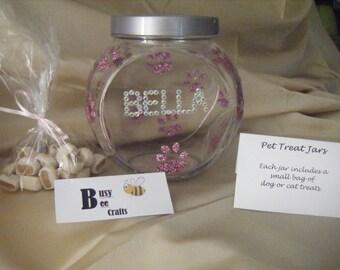 Personalised Glittered Pet Treat Jars