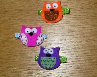 Set of 3 Felt Owl Hair Clips
