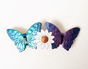 Butterfly Hair Barrette, Small French Barrette, Daisy