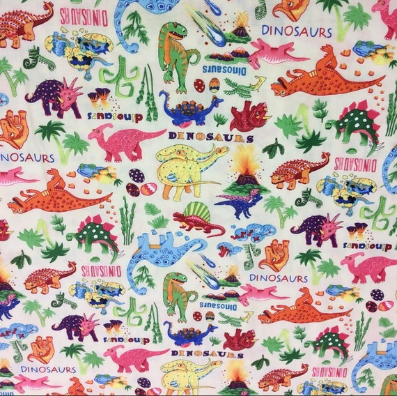 dinosaur fabric quilting fabric patchwork by senseofcotton